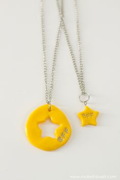 """DIY """"Frozen"""" and """"BFF"""" Charm Necklaces...made from polymer clay!   via Make It and Love It"""