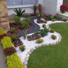 40 Inspiring Front Yard Rock Garden Landscaping Id - Amenagement Jardin Recup Small Front Yard Landscaping, Stone Landscaping, Front Yard Design, Landscaping With Rocks, Backyard Landscaping, Landscaping Ideas, Small Yard Design, Natural Landscaping, Country Landscaping