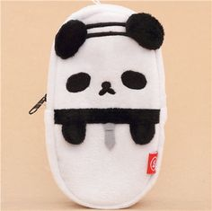 Ojipan funny black and white panda plush pencil case from Japan 1