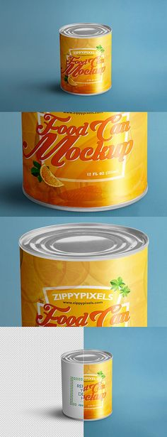 Round Tin Cans Packaging PSD Mockup