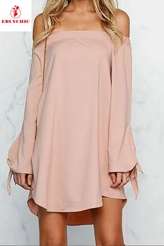 Cheap pink summer dress, Buy Quality summer dress directly from China summer dress women Suppliers: Mini Off Shoulder Loose Casual Dress Solid Bow Pink Summer Dresses Women Shift Dress Summer 2016 New Fashion Dresses Shift Dress Outfit, Dress Skirt, Shift Dresses, Outfit Work, Dresses Dresses, Casual Dresses, Fashion Dresses, Bodice Pattern, Mini Robes