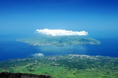 View from Mount/Volcano Pico looking down to Faial