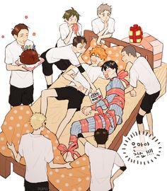 히나타 생일을 축하하는 카라스노 + 카게히나ㅋㅋㅋ선물은 영산이  #하이큐 #haikyuu #hq #bl