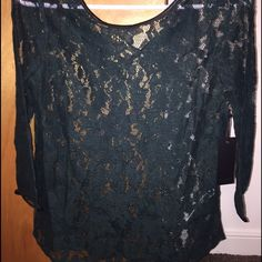 NWT Forever 21 Emerald Green lace blouse Beautiful lace top. Perfect with skinny jeans. Never worn!! Tops Blouses