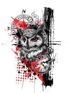 tattoo trash polka woman * tattoo trash ` tattoo trash polka ` tattoo trash polka design ` tattoo trash polka männer ` tattoo trash polka frauen ` tattoo trash polka trashpolka ` tattoo trash polka for men ` tattoo trash polka woman Trash Polka Design, Trash Polka Art, Owl Tattoo Design, Tattoo Sleeve Designs, Sleeve Tattoos, Trash Polka Tattoos, Tattoo Trash, Owl Tattoo Drawings, Tattoo Sketches