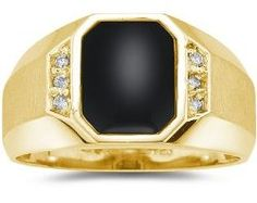 Mens Rings - 10K Yellow Gold Onyx and Diamond Men's Ring / Mens Jewelry Site: Project Fellowship