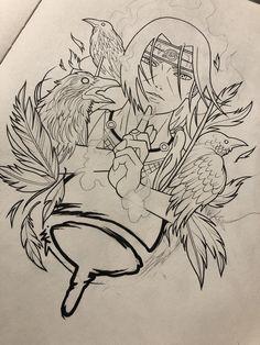 ITACHI - one of my favorite characters by far. Tatoo Naruto, Naruto Art, Bro Tattoos, Sleeve Tattoos, Raven Tattoo, Dark Tattoo, Tattoo Design Drawings, Tattoo Sketches, Arte Libra