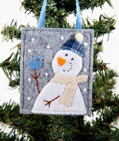 Felt Snowman Ornament Hand Embroidered Blue by JennMaruskaDesign