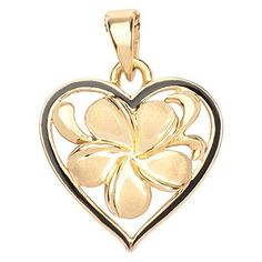 Hawaiian Heirloom Jewelry 14k Gold Plumeria Black Enamel Heart Pendant