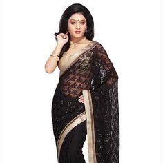 Black Chantelle Net Saree with Blouse