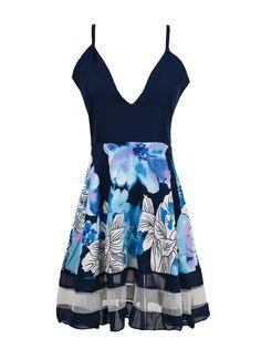 Cheap Sexy Floral Print Deep V-neck Mini Dress for Sale - Chicuu.com