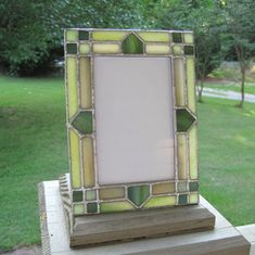 Asparagus Green 4 x 6 Stained Glass Picture Frame Stained Glass Frames, Stained Glass Night Lights, Stained Glass Projects, Stained Glass Art, Cheap Picture Frames, Mirrored Picture Frames, Glass Picture Frames, Stained Glass Patterns Free, Art Deco Mirror