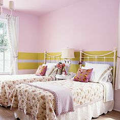 Bold contrasting stripes--inspired by a grosgrain ribbon--change the dynamic of this room. Interrupt the palette | Sunset.com