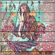 Mermaid (on old wood) Siren Mermaid, Mermaid Tale, Mermaid Images, Mermaid Paintings, Merfolk, Seahorses, Driftwood Art, Fairy Art, Sailors