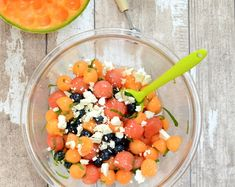 Summer's Best Melon Ball & Blueberry Salad Easy Summer Meals, Summer Recipes, Easy Meals, Watermelon Recipes, Cantaloupe Salad, Blueberry Salad, Breakfast Bagel, Small Tomatoes