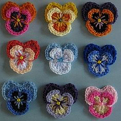 crochet pattern - pansies