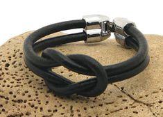FREE SHIPPING.Unisex leather bracelet .Black leather nautical unisex bracelet with silver plated clasp.