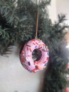 Handmade Fake Faux Donut Doughnut Ornament Food Prop Display Medium Size Chocolate Donut Pink Sprinkles by ImagineOutLoud