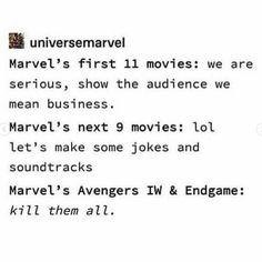 Can you just imagine the last one happening him saying those words 😂 (sorry to those who have my post notifications on and got lots of… Avengers Memes, Marvel Jokes, Marvel Funny, Marvel Dc Comics, Marvel Avengers, Nos4a2, Dc Memes, Marvel Cinematic Universe, Humor