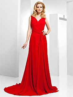 A-line+V-neck+Sweep/Brush+Train+Chiffon+Evening+Dress++–+USD+$+129.99
