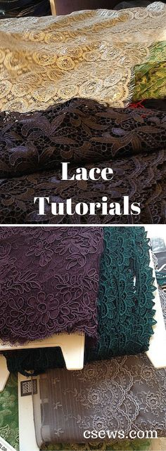 Sewing with lace – a resource list – C Sews Lace tutorials – a resource list compiled by Natalie of Britex Fabrics – lace seams and finishes, lace embellishments, heirloom sewing, lingerie lace Sewing Projects For Beginners, Sewing Tutorials, Sewing Crafts, Sewing Tips, Sewing Ideas, Dress Tutorials, Sewing Blogs, Diy Crafts, Diy Projects