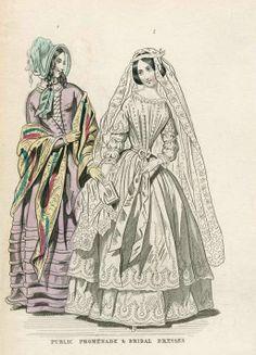 1844. promenade and bridal dress, May, Ladies' Cabinet.
