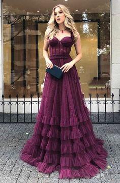 Sleeveless Floor-Length Plain A-Line Dress Dance Dresses, Prom Dresses, Formal Dresses, Tulle Prom Dress, Strapless Dress Formal, Dress Wedding, Bridesmaid Dress, Party Gowns, Party Dress