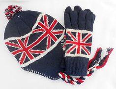 dbc1c6a2558 Union Jack Beanie HAT   GLOVES Set Unisex Chullo One Size Line Wool Acrylic  Warm