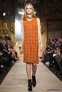 Crochetemoda: Vestido de Crochet Laranja