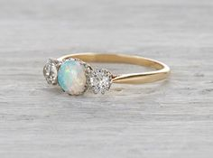OPAL & DIAMOND EDWARDIAN VINTAGE ENGAGEMENT RING CIRCA 1905