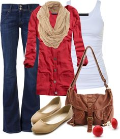 Love the red cardigan and nude flats