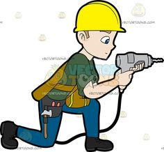 A Construction Worker Drilling A Hole In The Wall : A man with blonde hair wearing a yellow hard hat dark green shirt under a pale mustard yellow with bright yellow lined vest gray tool belt blue pants and black boots looking serious and focused while bending his right knee down as he drills a whole in the wall using the light gray with black cable drill in his hands The post A Construction Worker Drilling A Hole In The Wall appeared first on VectorToons.com.
