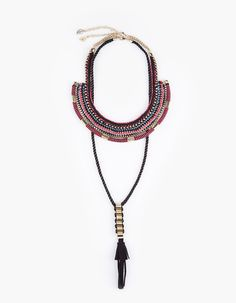 Textile necklace with tassel
