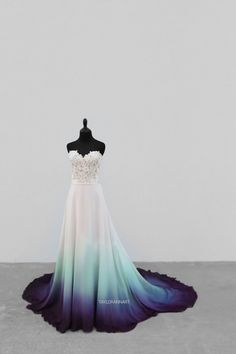 Bridal Gowns Colored by Taylor Ann Art - Gallery Pretty Prom Dresses, Best Wedding Dresses, Elegant Dresses, Cute Dresses, Beautiful Dresses, Formal Dresses, Dip Dye Wedding Dress, Moderne Outfits, Fantasy Dress
