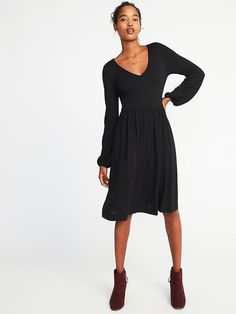 Fit & Flare Jersey Dress for Women Black, Large