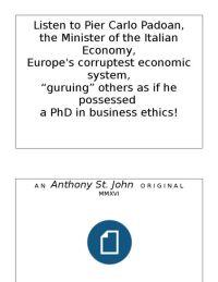Listen to the Italian Economy Minister...