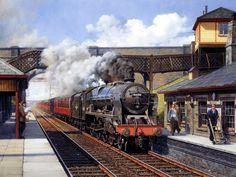 Steam Locomotive At Station : Steam Train Painting by Howard Fogg 31 Diesel Locomotive, Steam Locomotive, Long Beach, Prague, Uk Rail, Steam Art, Train Art, Rail Train, Abandoned Train