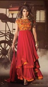Bollywood actress Priyanka Chopra wearing this red georgette ankle length anarkali suit is done with the cord. Resham embroidery work in the yoke which adds charm to the look. It comes with matching bottom and dupatta.This unstitched suit can be stitched in the maximum bust size of 42 inches...