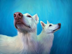 White dogs, painted from a photo by Randall Whitehead