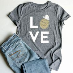 Plus Size Summer Women T-Shirt Tops Love Pineapple Print Gray Top O-Neck Short Sleeve Casual T shirt Female Tee Ladies Casual T Shirts, Tee Shirts, Pineapple Shirt, Gold Pineapple, Junior Shirts, Love Shirt, Party Shirts, Overall, Summer Shirts