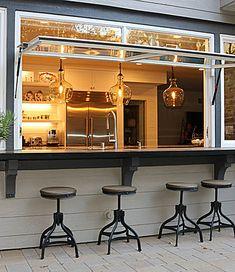 Kitchen Window Bar, Kitchen Pass, Cafe Window, Küchen Design, House Design, Pass Through Window, Garage Windows, Window Bars, Backyard Bar