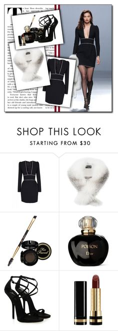 """""""Standard Features 76"""" by antoniasalvato ❤ liked on Polyvore featuring The 2nd Skin Co., Harrods, Too Faced Cosmetics, Christian Dior, Giuseppe Zanotti and Gucci"""