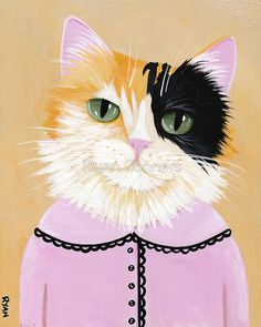 The Sweet Calico Whimsical Cat Folk Art Print avail in 3 sizes by 'KilkennycatArt' on Etsy ♥༺❤༻♥