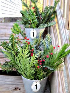 Galvanized Buckets Filled with Greens from the Tinkered Treasure     Good morning! Are you finished decorating inside and out or are you s...