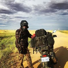 Somewhere between #Birdsville & #Windorah also known as the road to nowhere!! may also be where @notjustafireman tested #Honda's velocity claims on his new #Africatwin  #adventure #free #freedom #routineislethal #desert #outback #cantbelieveitsgreen #stormydays #nocarsinsight #goforit #doinit #intrepid #fearless #lovethisman #cloudporn #twowheels #motorbike #motorcyclesofinstagram by the_intrepid_adventure_girl