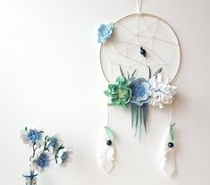Pastel boho dreamcatcher, floral dreamcatcher, hoop wall art, felt flower mobile, floral nursery, tribal nursery, white mint blue decor
