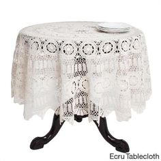 Handmade Crochet Cotton Lace Table Linens - Saro Lifestyle Dress your table in updated vintage classics with Saro Lifestyle's handmade crochet lace tablecloths in traditional ecru. Approximate Dimensions: x x 90 Round Tablecloths, Tablecloth Sizes, Tablecloth Fabric, Crochet Tablecloth, Lace Tablecloths, Striped Table Runner, Cotton Lace, Cotton Thread, White Cotton