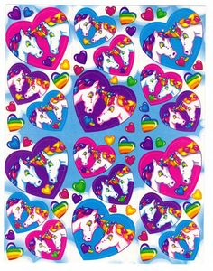 Vintage Lisa Frank Unicorn Love and Heart Stickers FULL SHEET. $4.29, via Etsy.