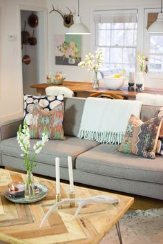 Britt Bass' Northern Georgia Home Tour #theeverygirl #gray sofa #dining living