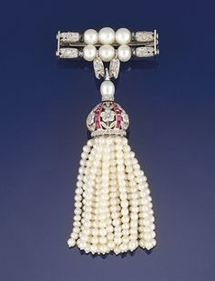 belle epoque jewelry | belle epoque diamond, seed pearl ruby tassel brooch